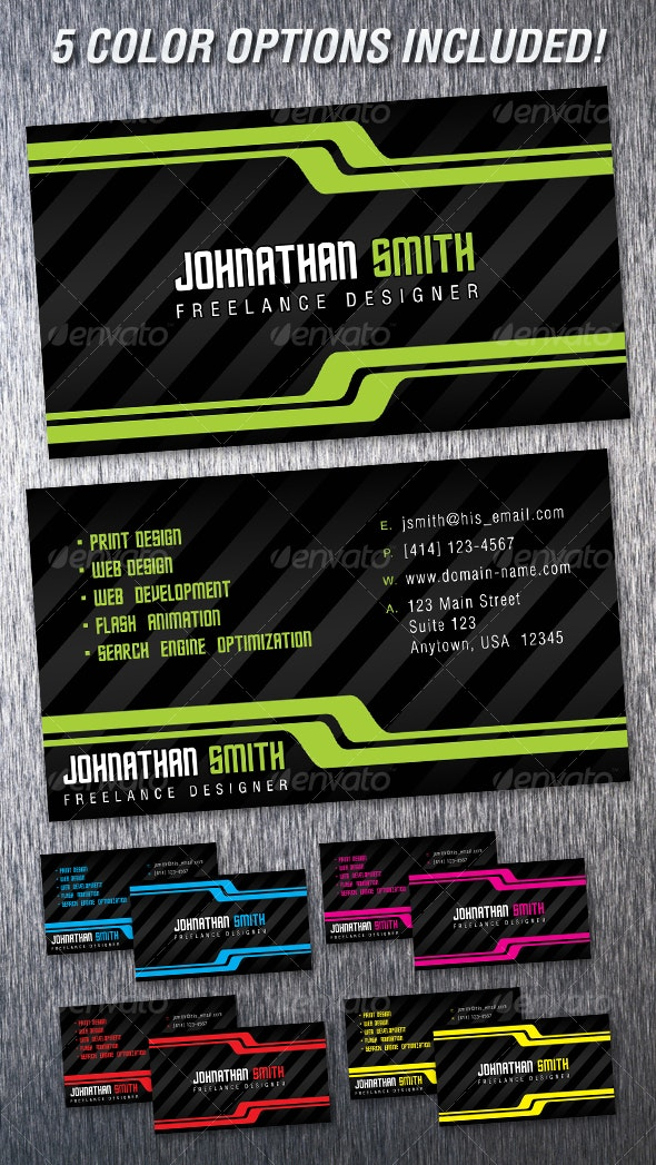 Dynamic Black Business Card - Creative Business Cards