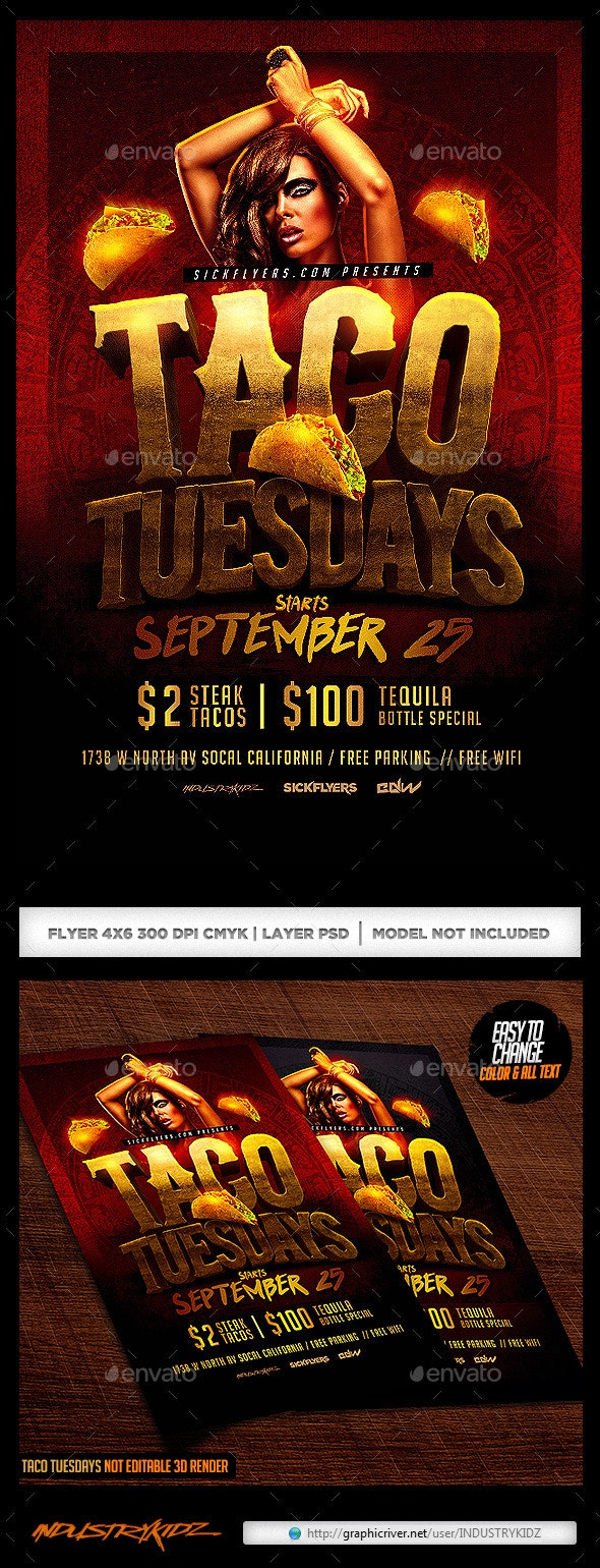 Taco Tuesdays Flyer  - Clubs & Parties Events