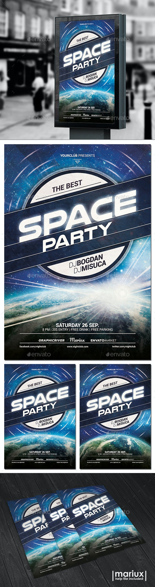 Space Party Flyer - Clubs & Parties Events