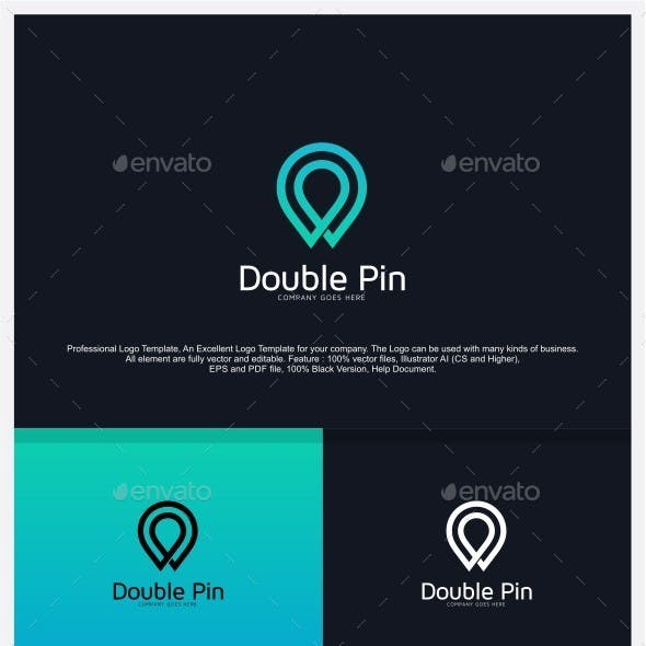 Double Pin - Find Place Logo