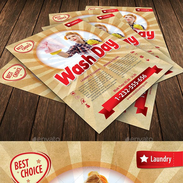 Retro Laundry Day Flyer Template 117
