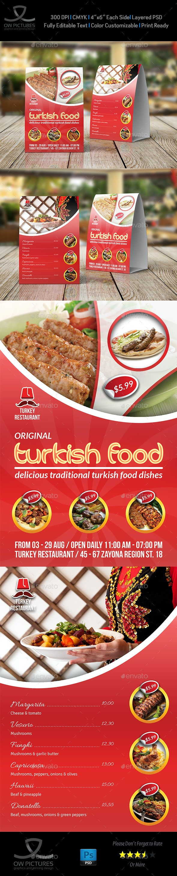 Turkish Restaurant Table Tent Template - Food Menus Print Templates