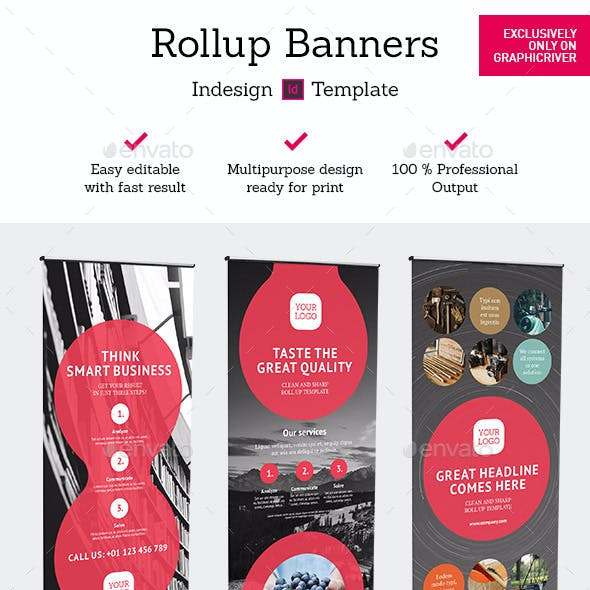 Rollup Stand Banner Display 24x Indesign Template
