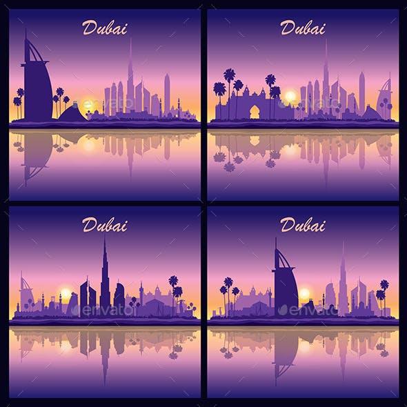 Dubai Skyline Silhouette Backgrounds