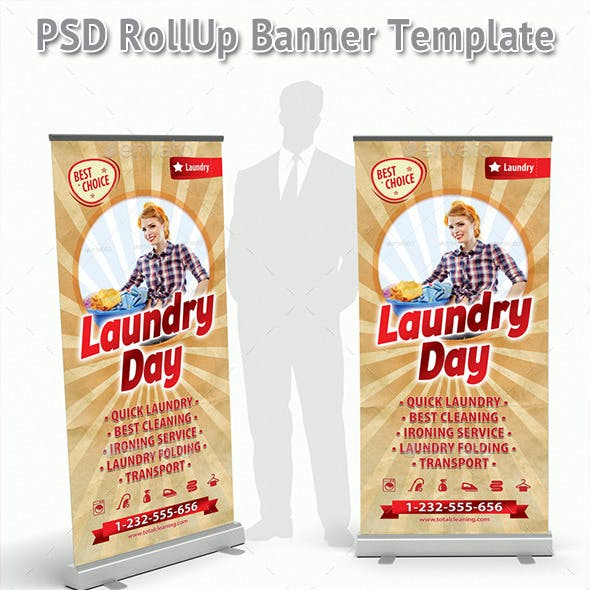 Retro Cleaning Day Rollup Banner 72