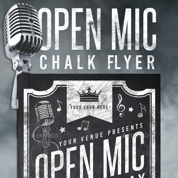 Chalk Open Mic Night Flyer