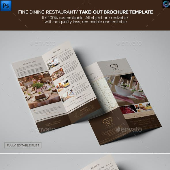 Fine Dining Restaurant/ Take-out Brochure Template