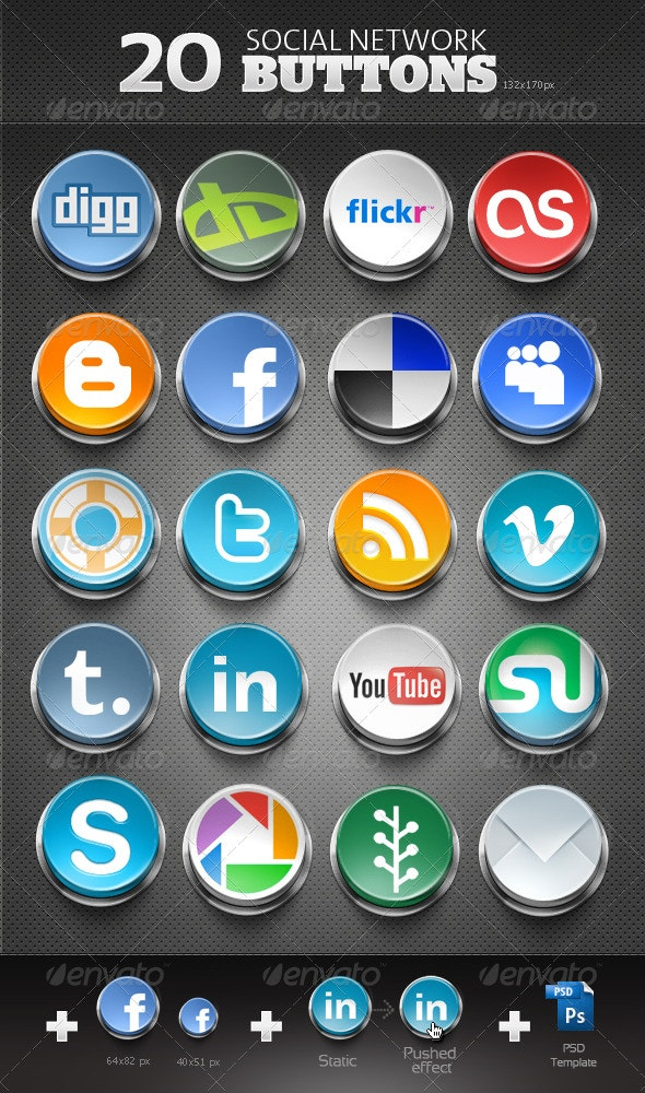 20 Social Network Buttons - Web Icons