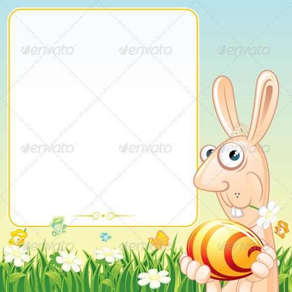 Easter Poster with Bunny - Characters Vectors