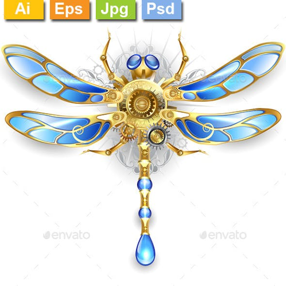 Mechanical Dragonfly on a White Background