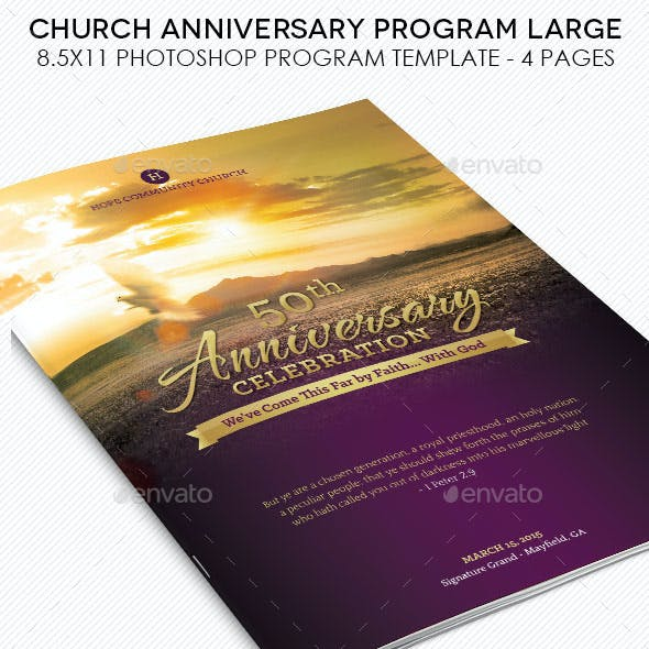 Church Anniversary Service Program Large Template