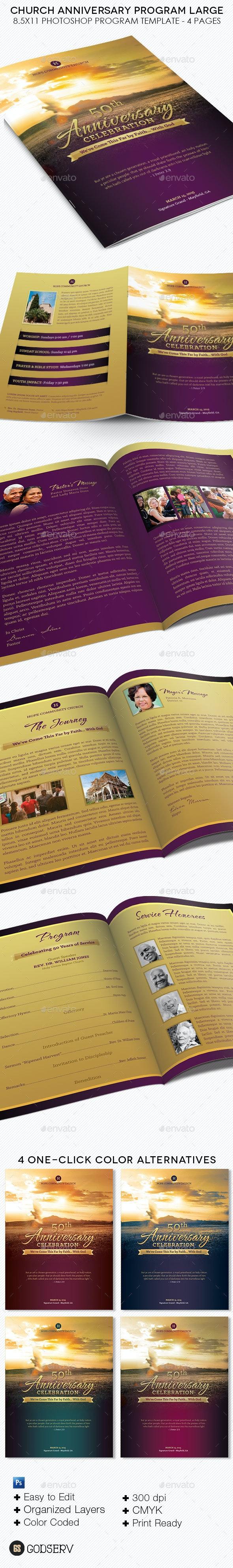 Church Anniversary Service Program Large Template - Informational Brochures