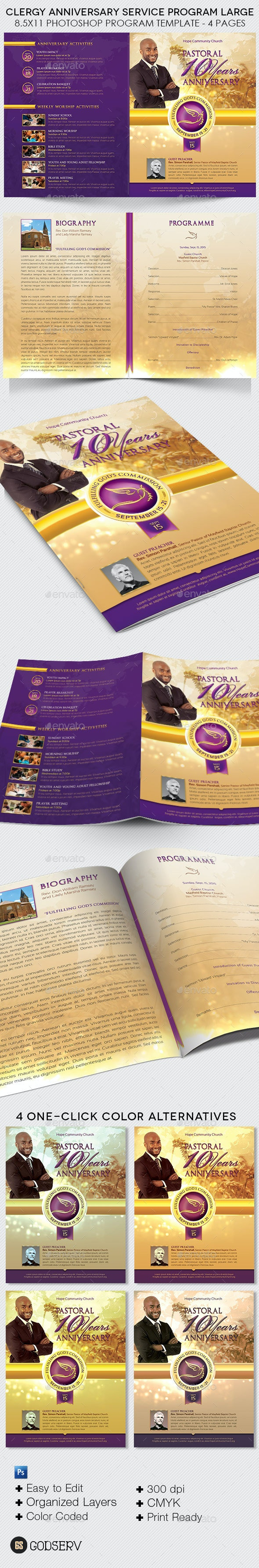 Clergy Anniversary Service Program Large Template - Informational Brochures