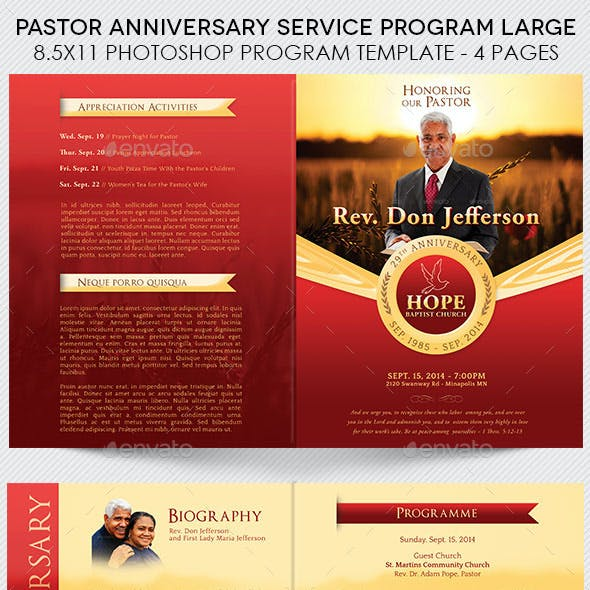 Pastor Anniversary Service Program Large Template