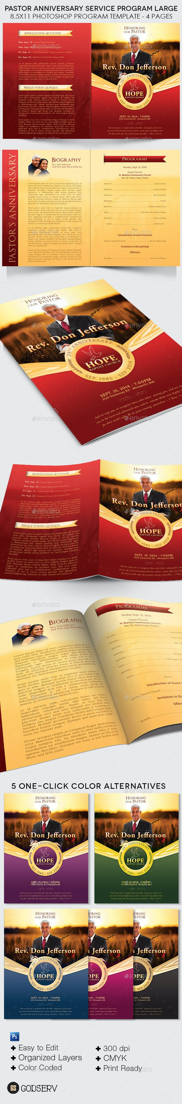Pastor Anniversary Service Program Large Template - Informational Brochures