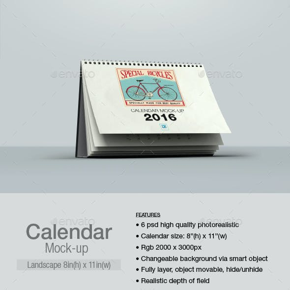 Calendar Mock-up Landscape