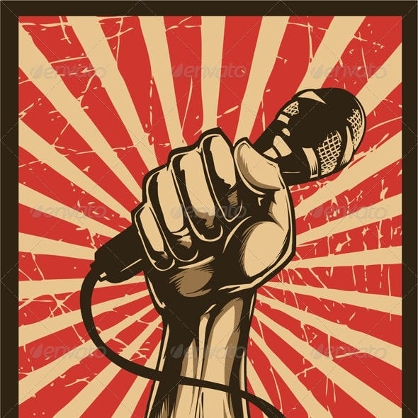 Revolution fist with microphone