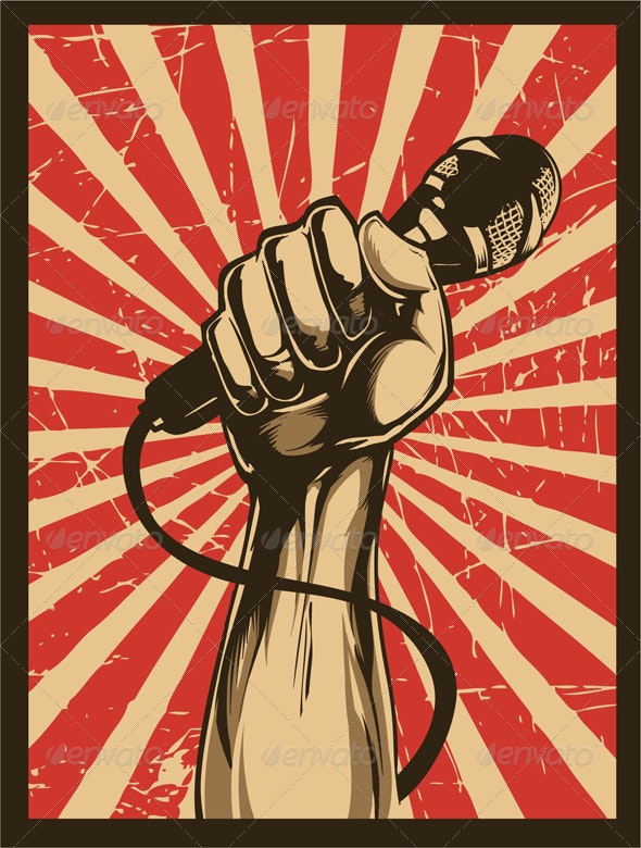 Revolution fist with microphone - Conceptual Vectors