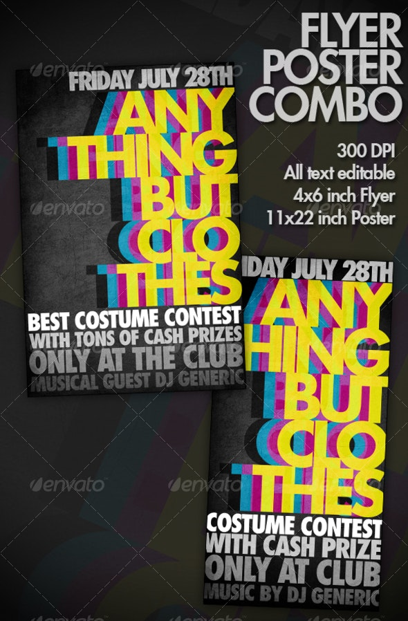 BOLD / COLORFUL  / VIBRANT Typography Flyer/Poster - Clubs & Parties Events