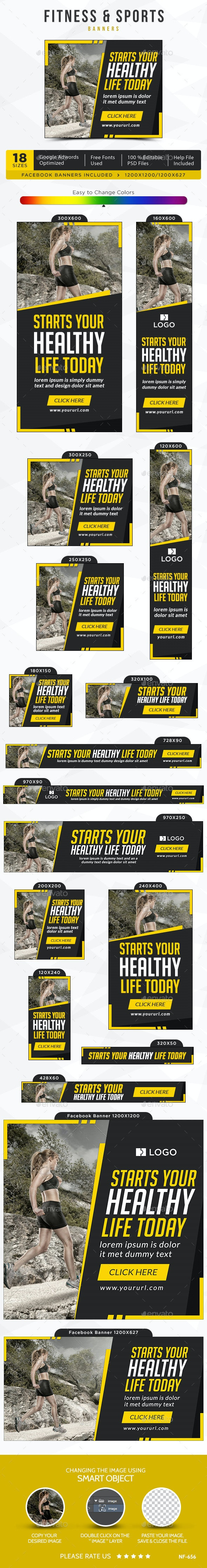 Fitness & Sports Banners - Banners & Ads Web Elements