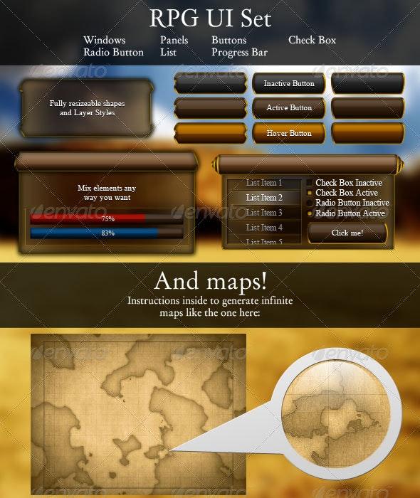 RPG UI Set - Miscellaneous Web Elements