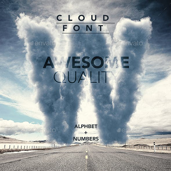 3D Sky / Cloud font mock up