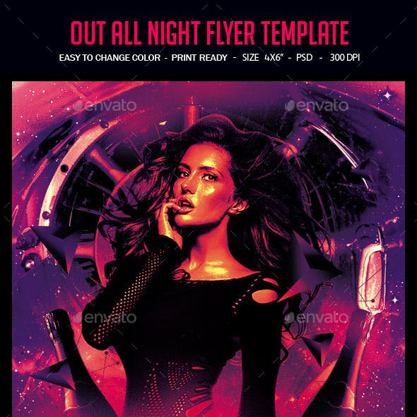Out All Night Flyer Template