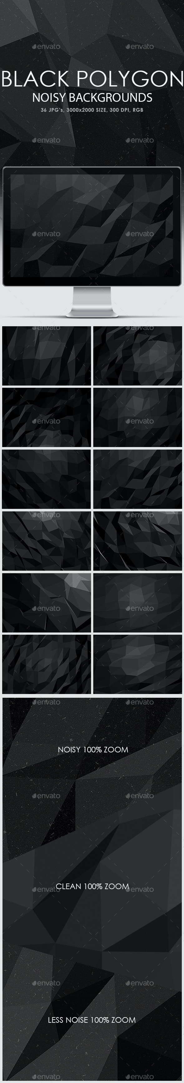 Noisy Black Polygon Backgrounds - Abstract Backgrounds