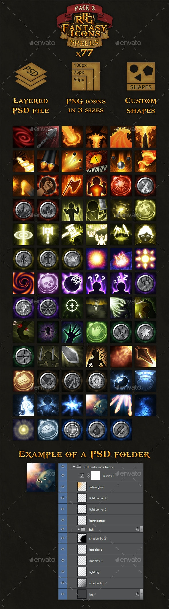 77 RPG Fantasy Spells Icons - Miscellaneous Game Assets