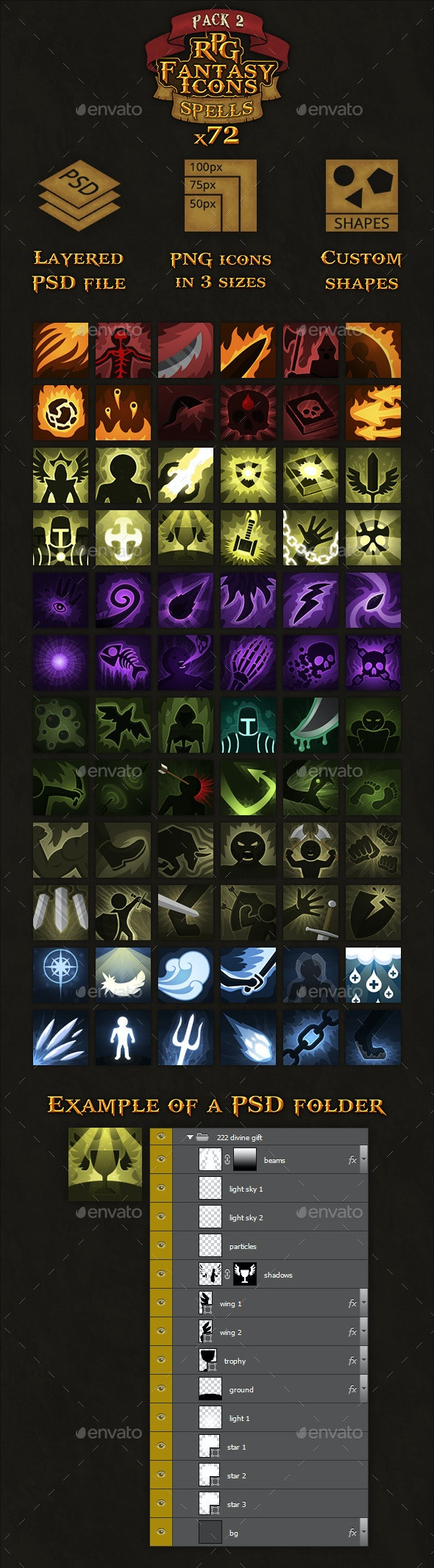 72 RPG Fantasy Spells Icons - Miscellaneous Game Assets