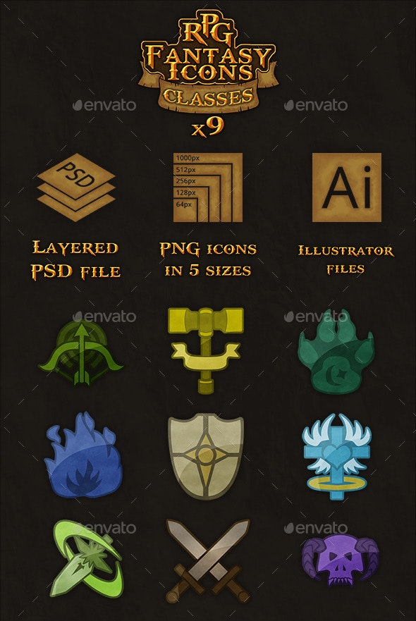 9 RPG Heroic-Fantasy Classes Icons - User Interfaces Game Assets