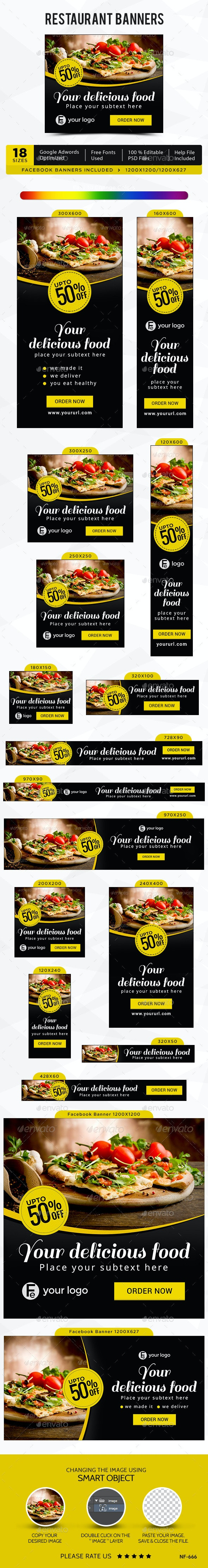 Restaurant Banners - Banners & Ads Web Elements