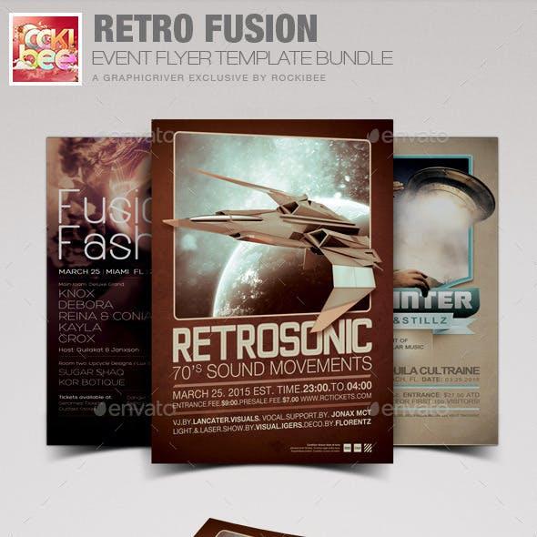Retro Fusion Event Flyer Template Bundle