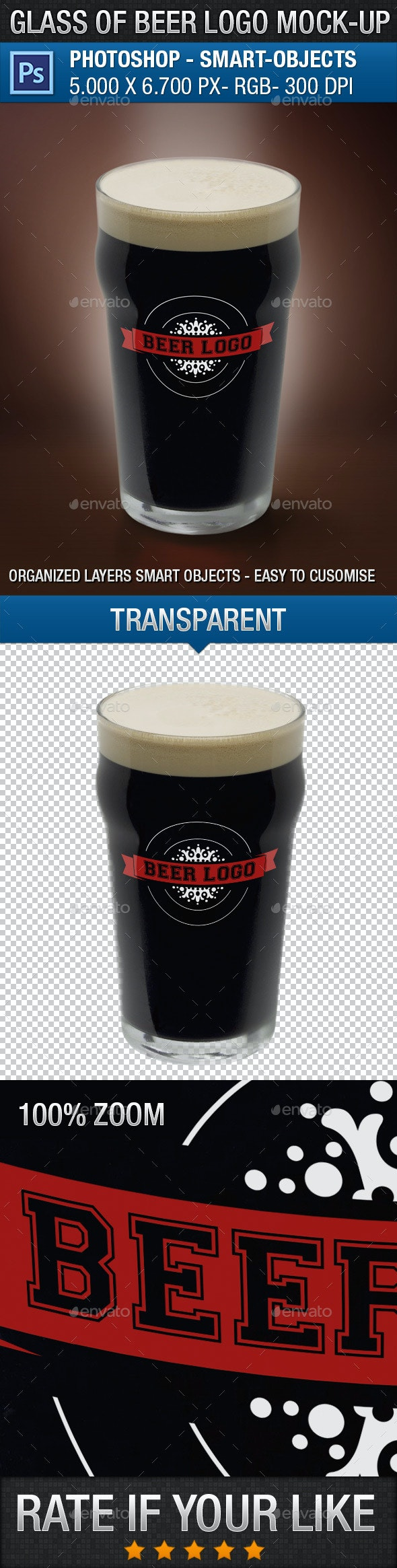 Glass of Beer Logo Mock-Up - Food and Drink Packaging