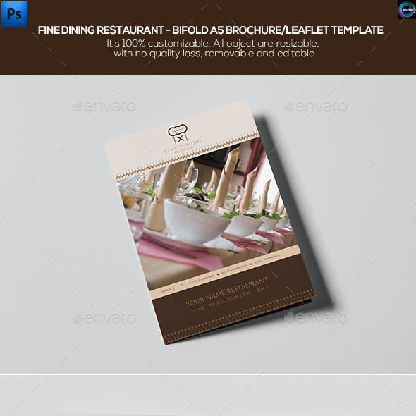 Fine Dining Restaurant-Bifold A5 Brochure Template