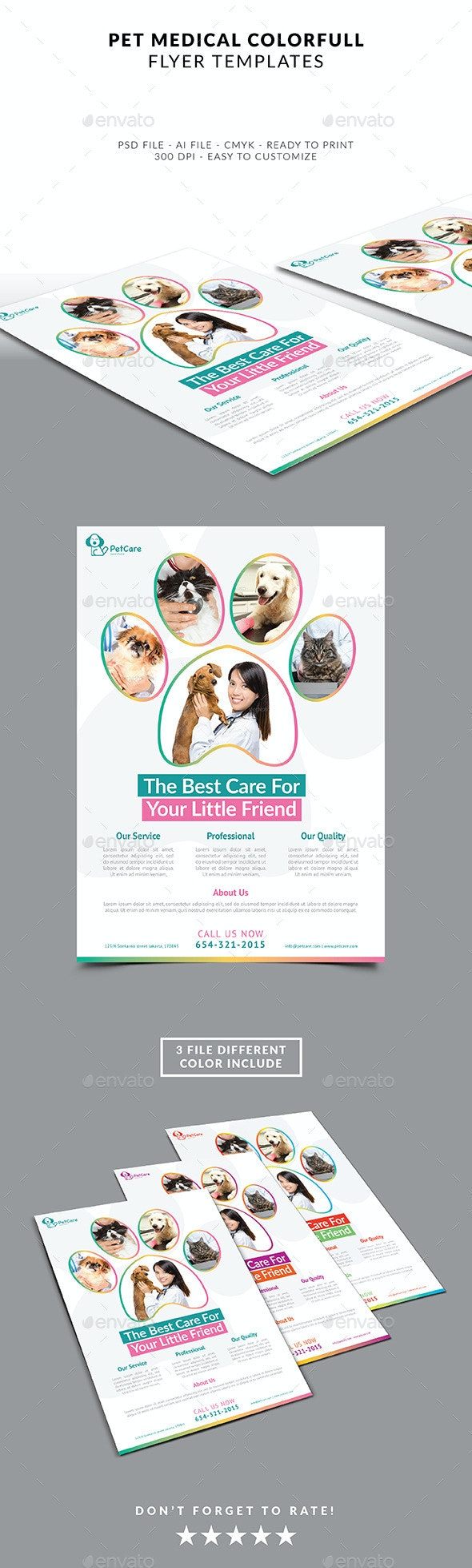 Pet Care Colorfull Flyer  - Flyers Print Templates