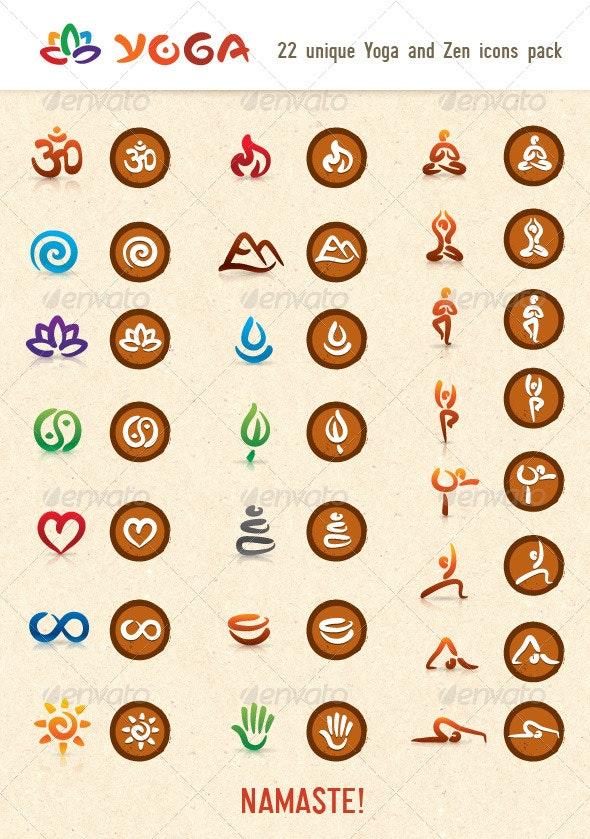 Hatha Yoga and Zen Vector Icons Pack - Health/Medicine Conceptual