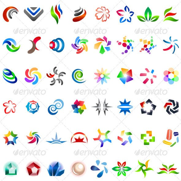 48 Different Colourful Abstract Symbols - part 4