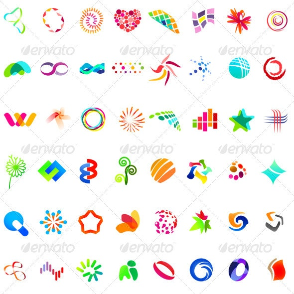 48 Different Colourful Abstract Symbols - part 5 - Decorative Symbols Decorative