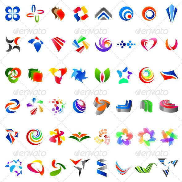 48 Different Colourful Abstract Symbols - part 6 - Decorative Symbols Decorative