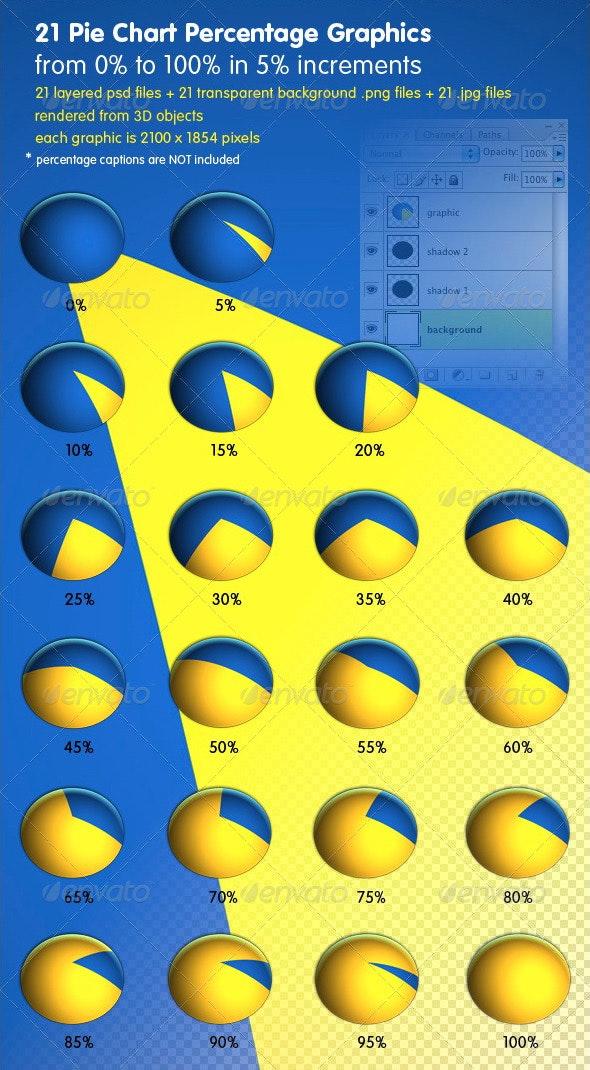 21 Business Percentage Pie Graphics - 3D Renders Graphics