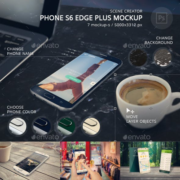 Phone S6 Edge Plus Mockup Scene Creator