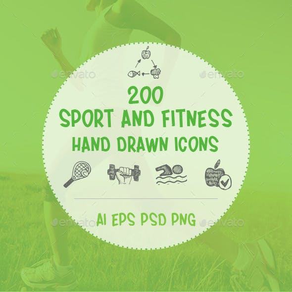 Sport and Fitness Hand Drawn Icons