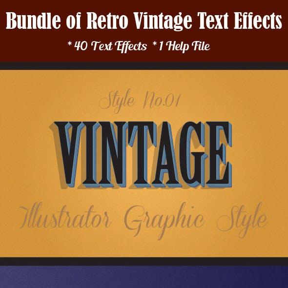 Bundle of Retro Vintage Text Effects