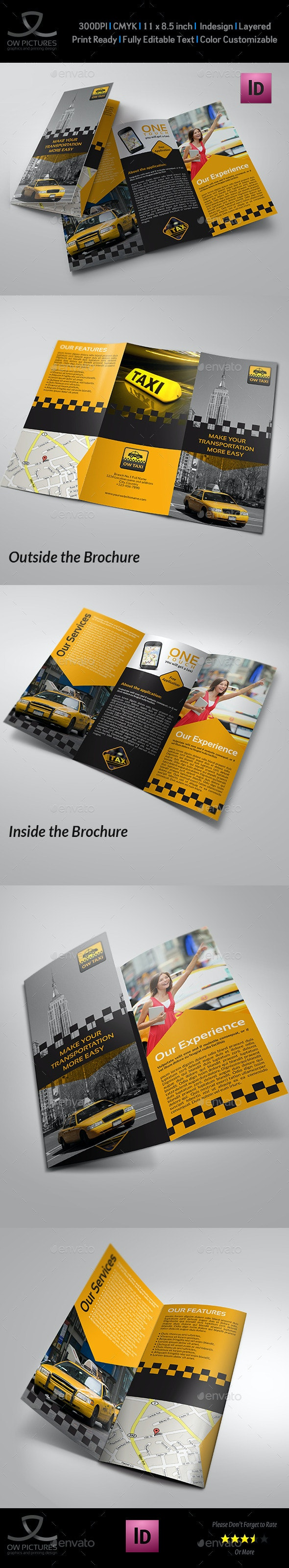 Taxi Service Tri-Fold Brochure Template - Brochures Print Templates