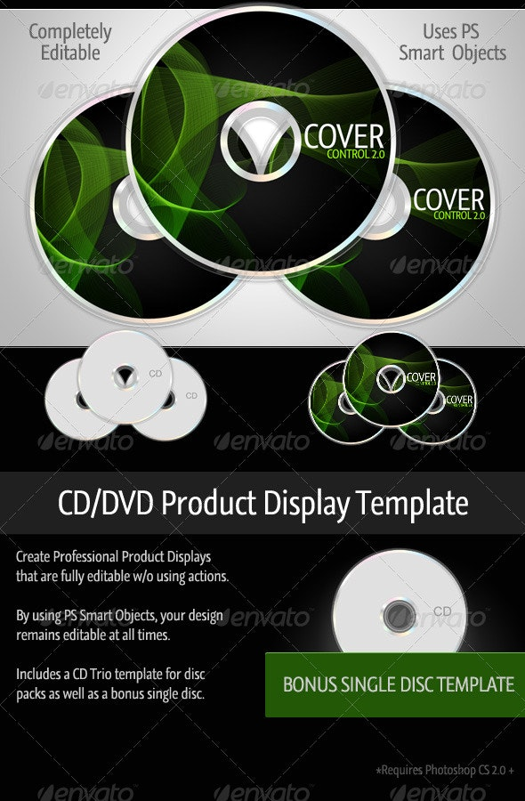 Cover Control CD/DVD Product Template - Discs Packaging