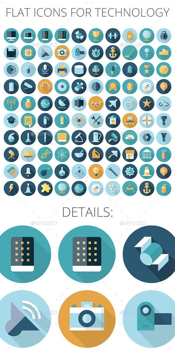 Flat design icons for Technology - Technology Icons