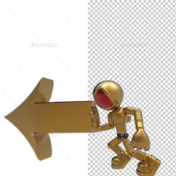 3D Golden Astronaut Push Left Direction Arrow