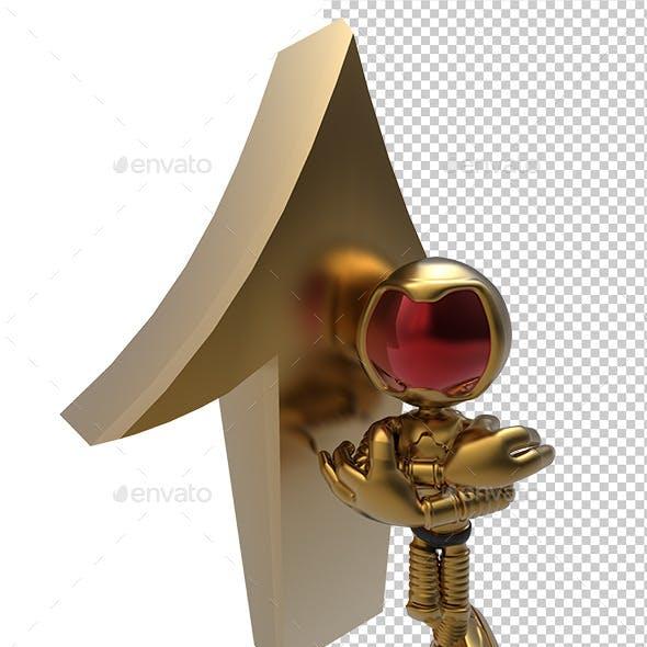3D Golden Astronaut Tell Up Direction Arrow