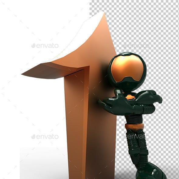 3D Astronaut Tell Up Direction Arrow
